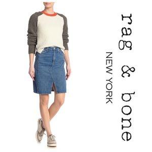 Rag & Bone Super High Rise Denim Skirt